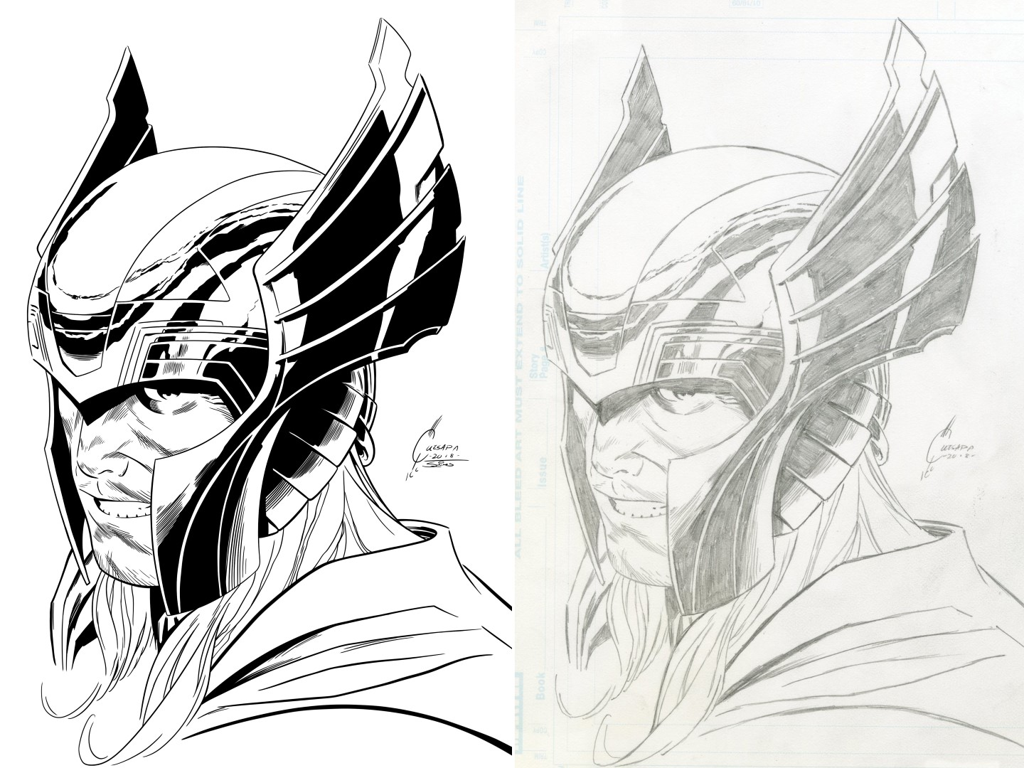 Inks Over Joe Quesada Thor